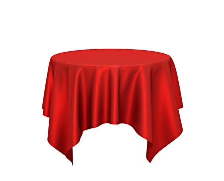 Red silk tablecloth, presentation pedestal isolated on white. 3D rendering