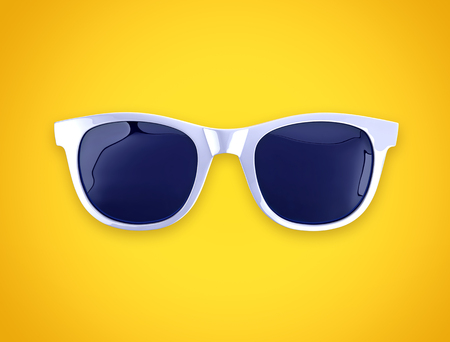 White sunglasses on yellow background, top view. 3D rendering with clipping path