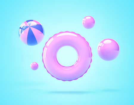 Inflatable swimming ring and beach balls. Summer vacation concept. 3D rendering