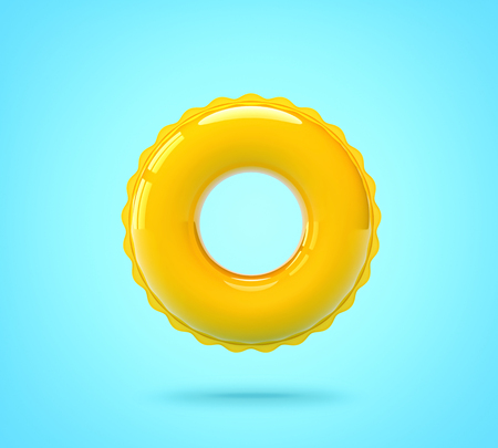 Inflatable swimming ring on blue background. Stock fotó