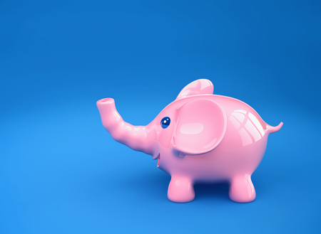 Pink ceramic funny elephant on blue background. 3D rendering Stock fotó