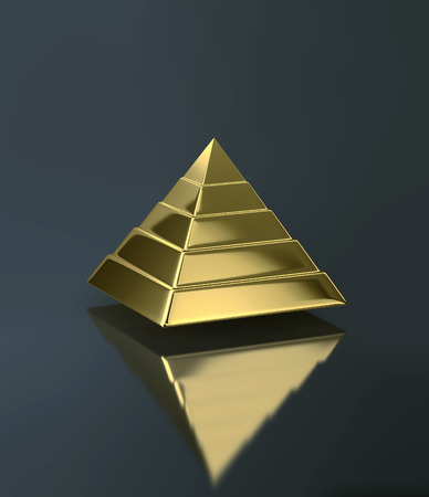 Golden pyramid with reflection on dark background. Development concept. 3D rendering Stock fotó