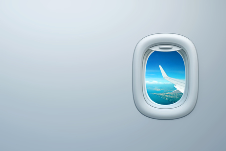 Airplane window with view of sea coast and place for text. 3D rendering
