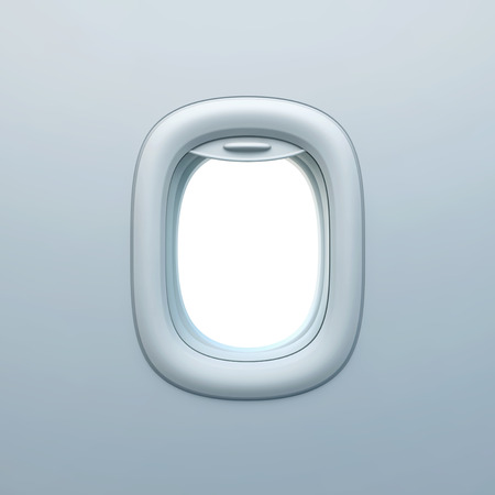 Empty aircraft porthole, airplane window. 3D rendering