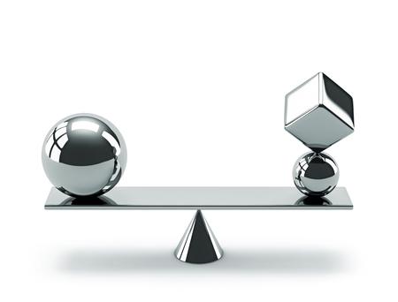 Balance-Konzept. Zusammensetzung der geometrischen Formen des glänzenden Metalls lokalisiert auf Weiß. 3D-Rendering