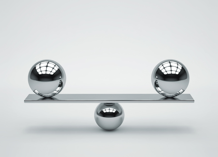 Balance concept. Composition of glossy metal spheres. 3D rendering Stock fotó