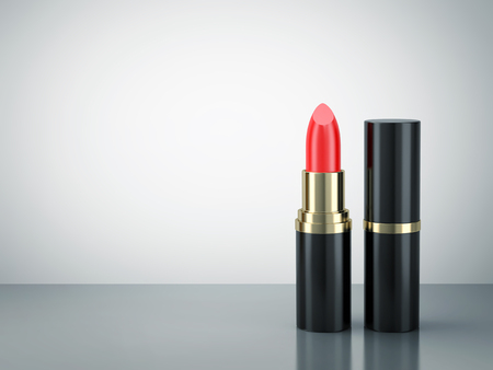 Red lipstick on reflective surface with copy space. 3D rendering 免版税图像