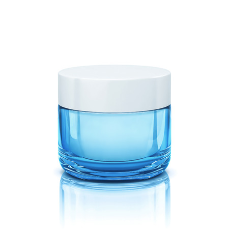 Blue glossy cosmetic jar for face cream, body cream.
