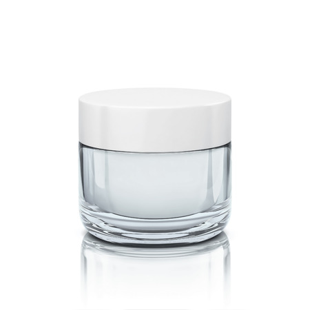 Glossy cosmetic jar for face cream, body cream.