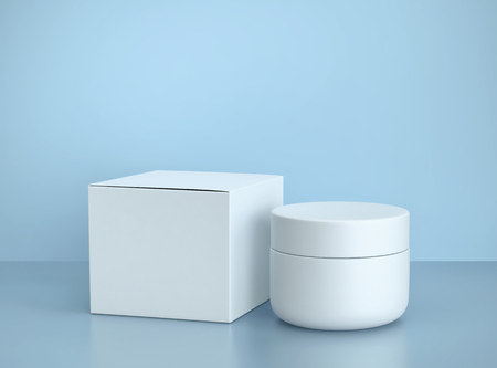 White cosmetic jar of face cream and box on blue background. 3D rendering