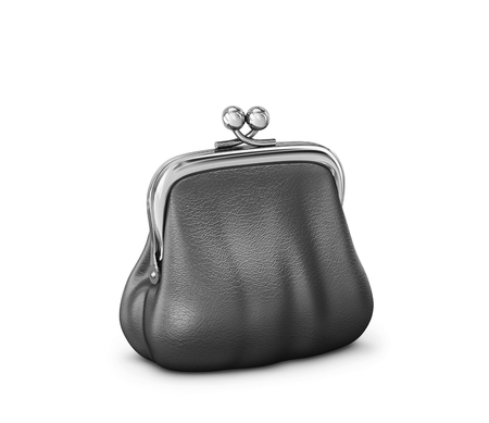 Black leather purse isolated on white background. 3D rendering