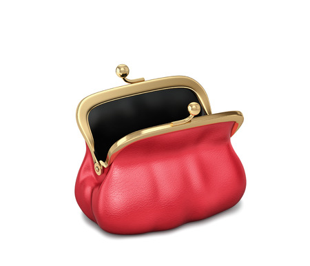 Open red leather purse, female bag isolated on white.