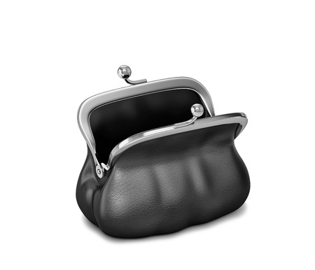 Open black leather purse, female bag isolated on white.