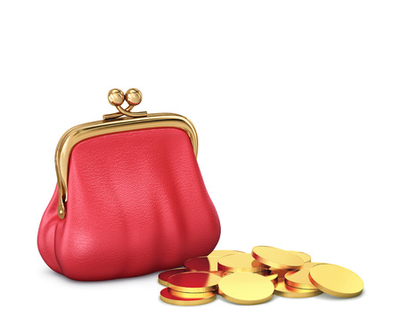 Red leather purse with gold coins isolated on white. 3D rendering