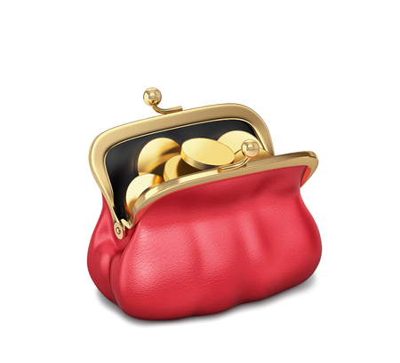 Open red purse with gold coins isolated on white. 3D rendering