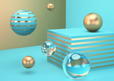 Abstract blue background with glass and golden spheres. 3D rendering Stock fotó