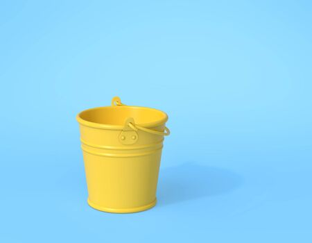 Empty yellow bucket on blue background. Minimal concept. 3D rendering Stock fotó