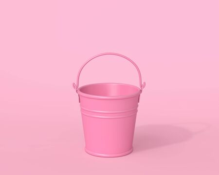 Empty pink bucket on pink background. Minimal concept. 3D rendering