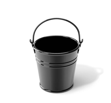 Black metal bucket isolated on white.