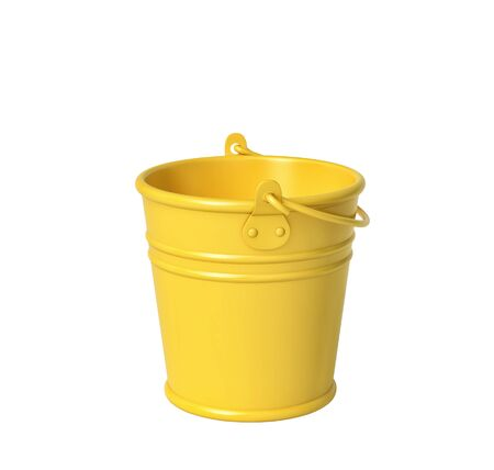 Yellow bucket isolated on white.