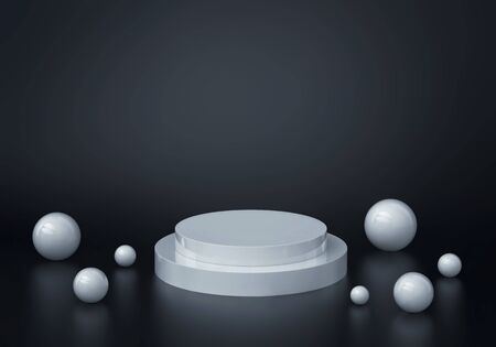 Abstract background with round podium and white glossy spheres. 3D rendering