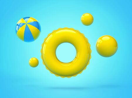 Inflatable yellow swimming ring and beach balls. Summer vacation concept. 3D rendering