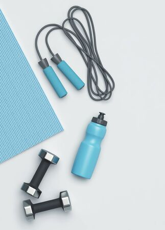 Fitness background. Fitness mat, dumbbells, jumping rope and a bottle of water on the floor. 3D rendering