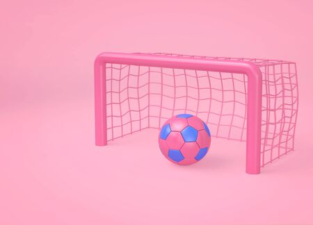 Pink soccer ball and goal on pink background.  Minimal sport concept. 3D rendering