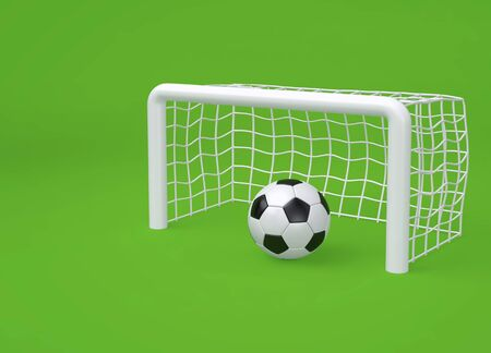Soccer ball and goal on green background.  Minimal sport concept. 3D rendering 写真素材
