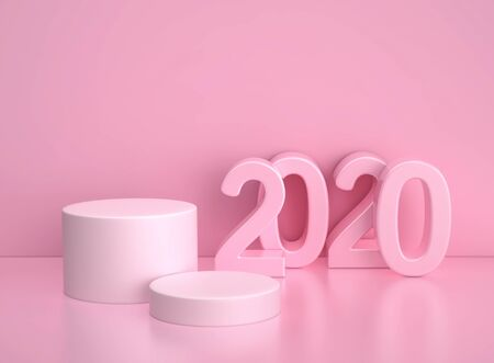 Happy new year 2020. Abstract pink background with round podium. 3D rendering