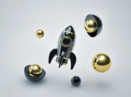 Abstract futuristic background with black metal rocket and metal glossy spheres. 3D rendering