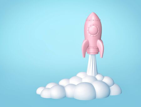 Rocket launch, cartoon space ship on blue background. 3D rendering