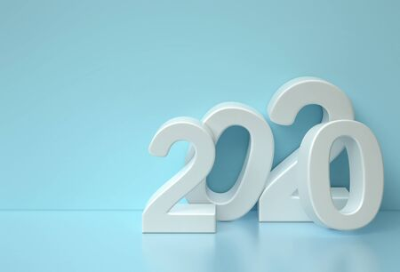 Happy new year 2020. Abstract blue background with white 3d numbers. 3D rendering 写真素材