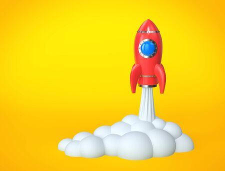 Red rocket launch. Business startup concept. 3D rendering