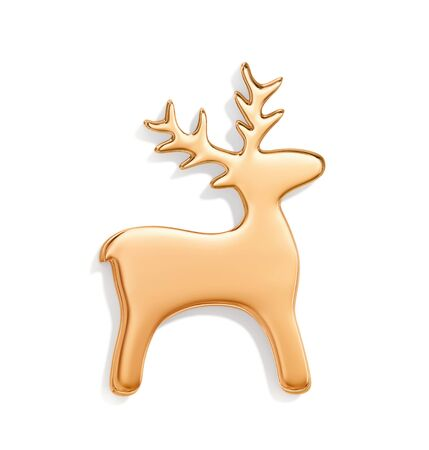 Golden christmas deer  isolated on white background. 3D rendering with clipping path 写真素材