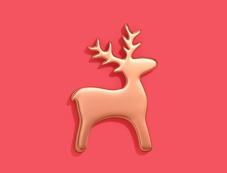 Golden christmas deer on red background. 3D rendering