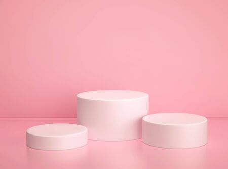 White cylinder podium, product display stand on pink background. 3D rendering