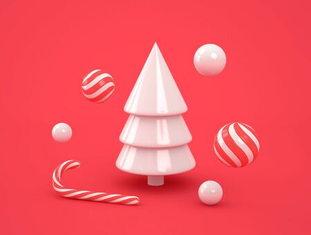 Abstract white christmas tree with candies on red background. Christmas, new year concept. 3D rendering 写真素材