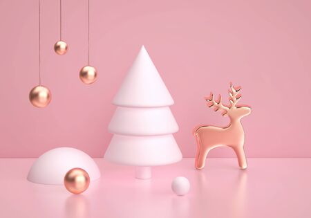 Abstract winter scene with christmas tree and golden deer on pink background. Christmas, new year concept. 3D rendering
