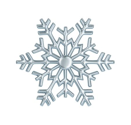 Silver snowflake isolated on white. 3D rendering with clipping path