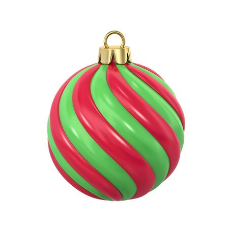 Red and green striped christmas ball isolated on white. 3D rendering with clipping path
