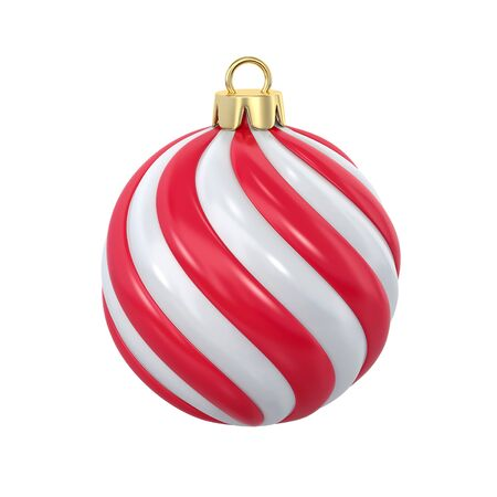 Red and white striped christmas ball isolated on white. 3D rendering with clipping path