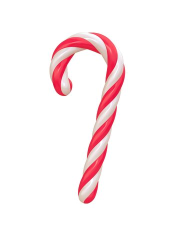 Christmas candy cane isolated on white. 3D rendering with clipping path