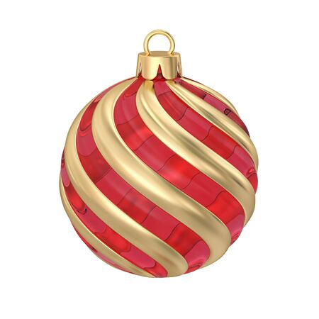 Red glass and gold striped christmas ball isolated on white. 3D rendering with clipping path 写真素材