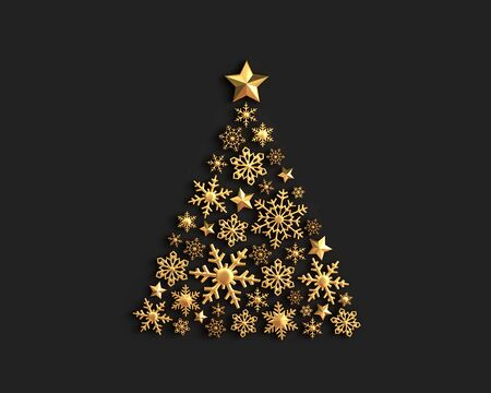 Golden snowflakes in the shape of a Christmas tree on black background. 3D rendering 写真素材
