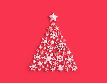 White snowflakes in the shape of a Christmas tree on red background. 3D rendering