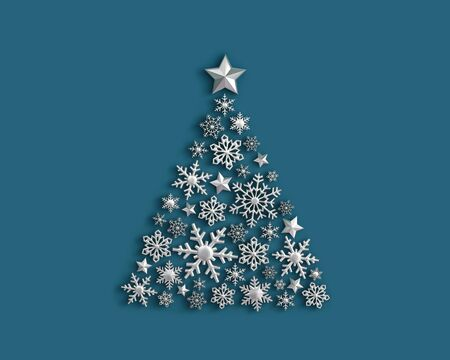 Silver snowflakes in the shape of a Christmas tree on blue background. 3D rendering 写真素材