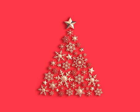 Golden snowflakes in the shape of a Christmas tree on red background. 3D rendering