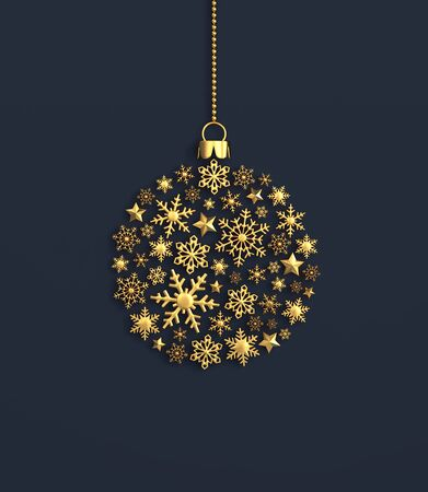 Golden snowflakes in the shape of a christmas ball on navy blue background. 3D rendering