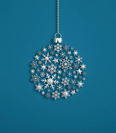 Silver snowflakes in the shape of a christmas ball on blue background. 3D rendering
